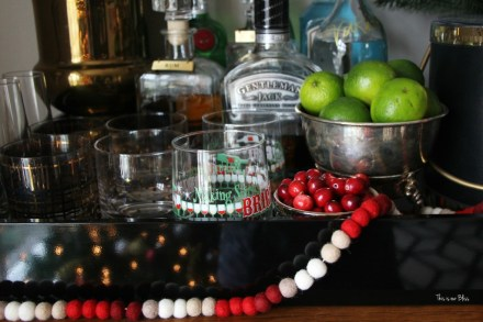 merry bright and blissful holiday home - holiday bar car - bar accessories - garland - making spirits bright - thisisourbliss.com