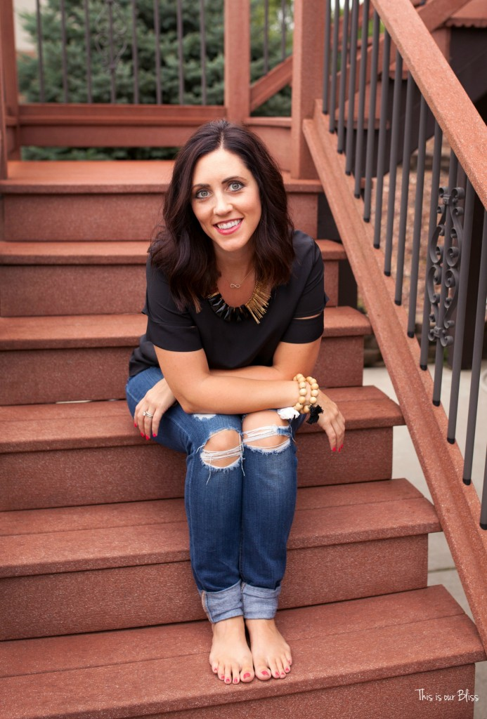 This is our Bliss in-home shoot - back deck staircase - thisisourbliss.com