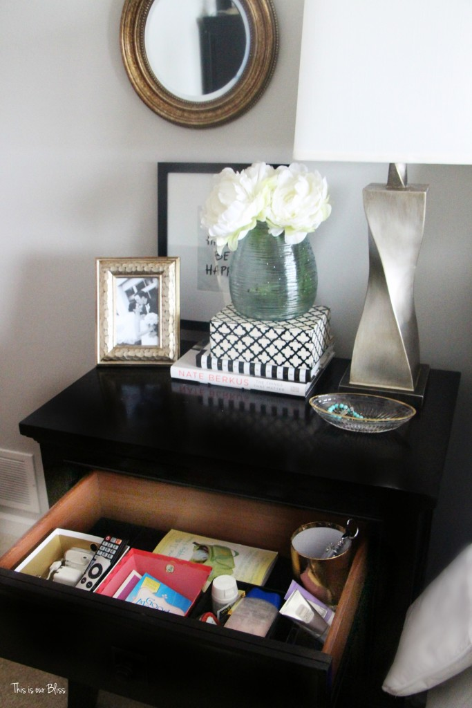 How to organize your bedside table drawer - nightstand organization This is our Bliss www.thisisourbliss.com