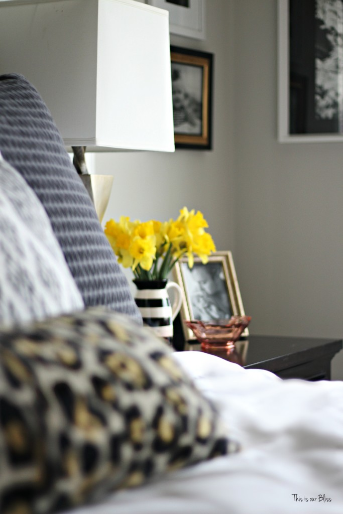 new year, new room refresh challenge - Master bedroom refresh - gold decor - how to style a nightstand - bedside table fresh flowers - This is our Bliss - thisisourbliss.com