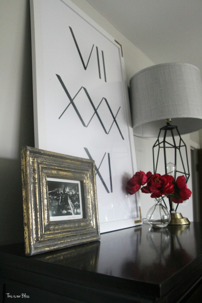 new year, new room refresh challenge - Master bedroom refresh - gold decor - lamps plus lamp & word art - This is our Bliss - www.thisisourbliss.com