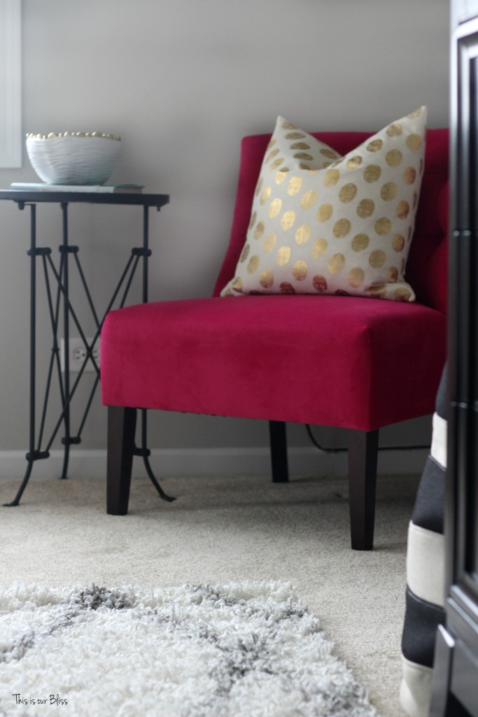 new year, new room refresh challenge - Master bedroom refresh - gold decor - pink chair - This is our Bliss - www.thisisourbliss.com