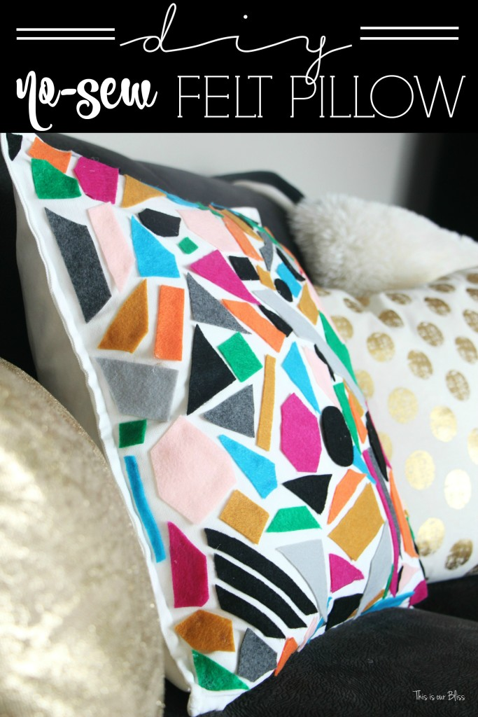 Knock it off DIY DIY no sew felt pillow World Market inspired pillow how to make a no sew felt pillow This is our bliss