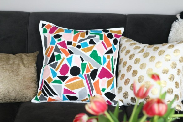 Knock it off DIY world market inspired pillow how to make a no sew felt pillow colorful DIY pillow This is our Bliss