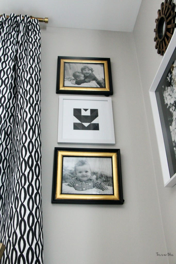 New year new room master bedroom refresh challenge - black and white curtains with corner gallery wall with black, white and gold frames This is our Bliss www.thisisourbliss.com