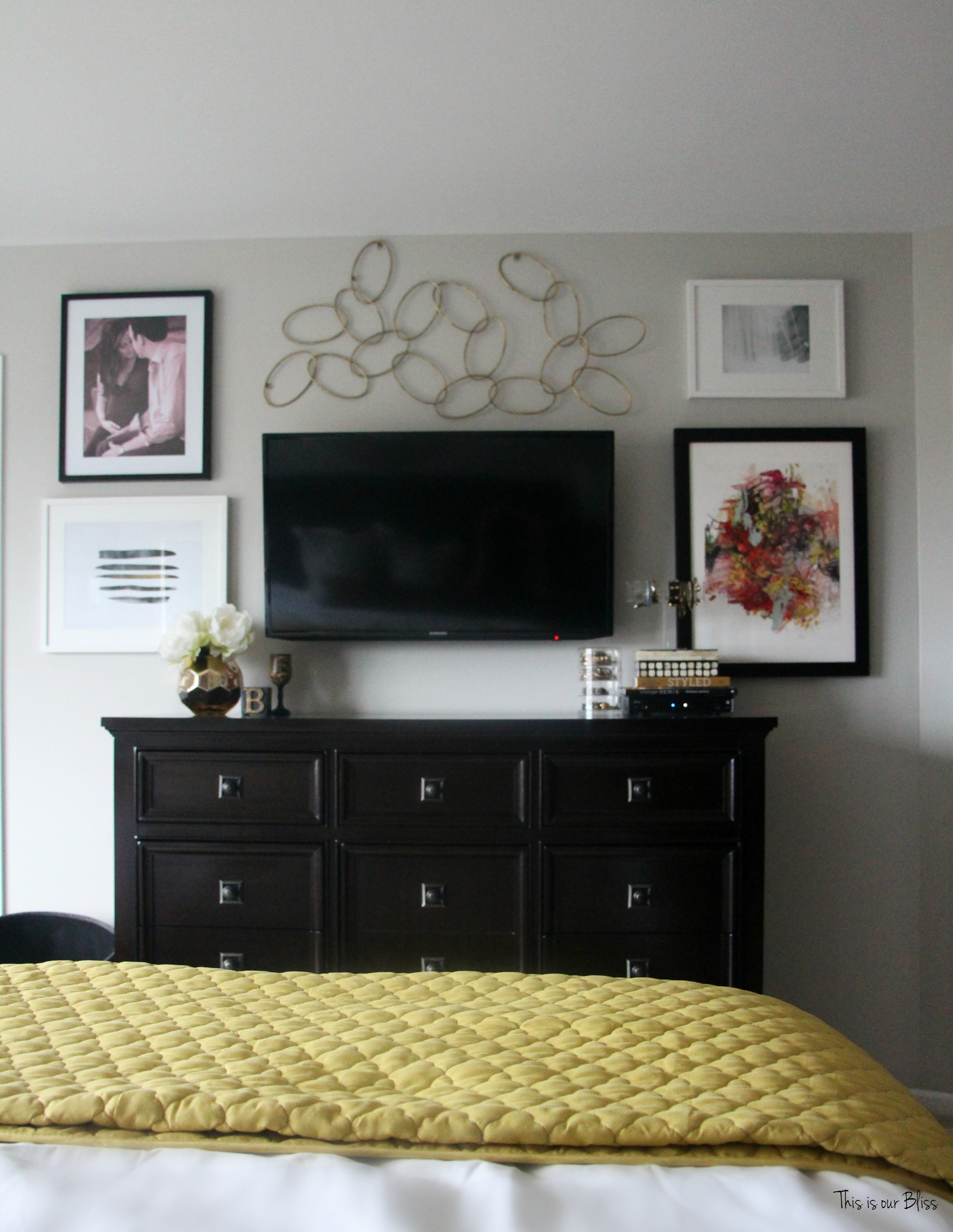 New year new room master bedroom refresh this is our bliss for Bedroom gallery wall