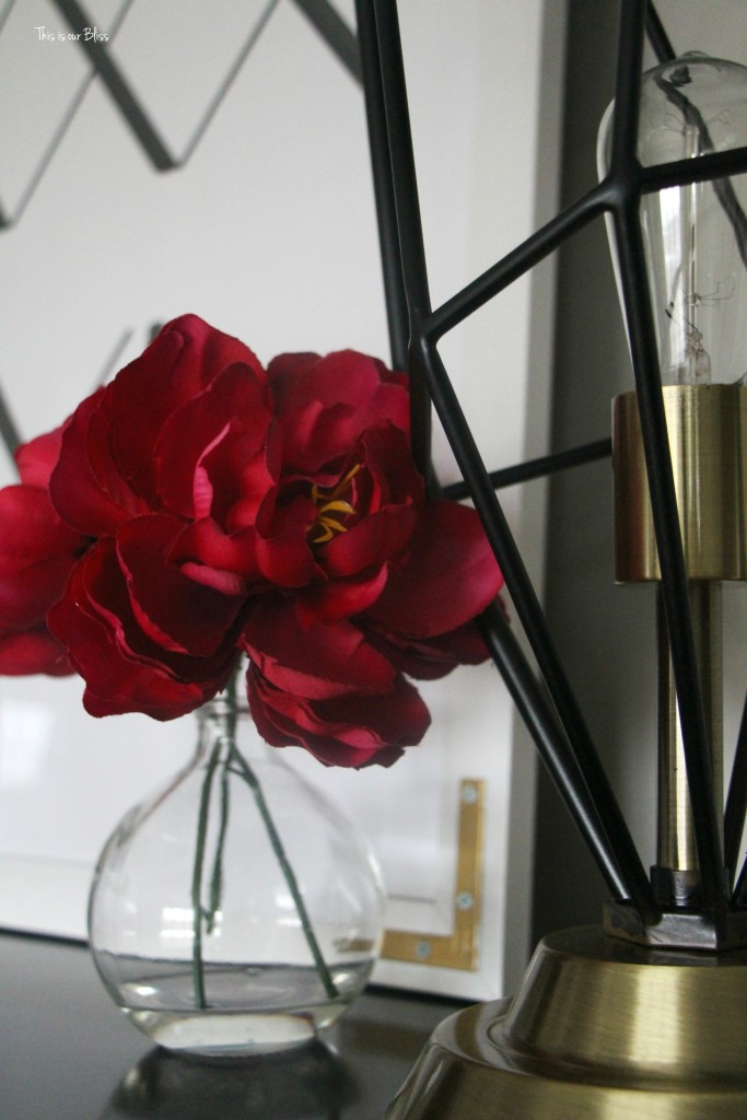 new year new room master bedroom refresh - lamp & flowers on tall dresser This is our Bliss www.thisisourbliss.com
