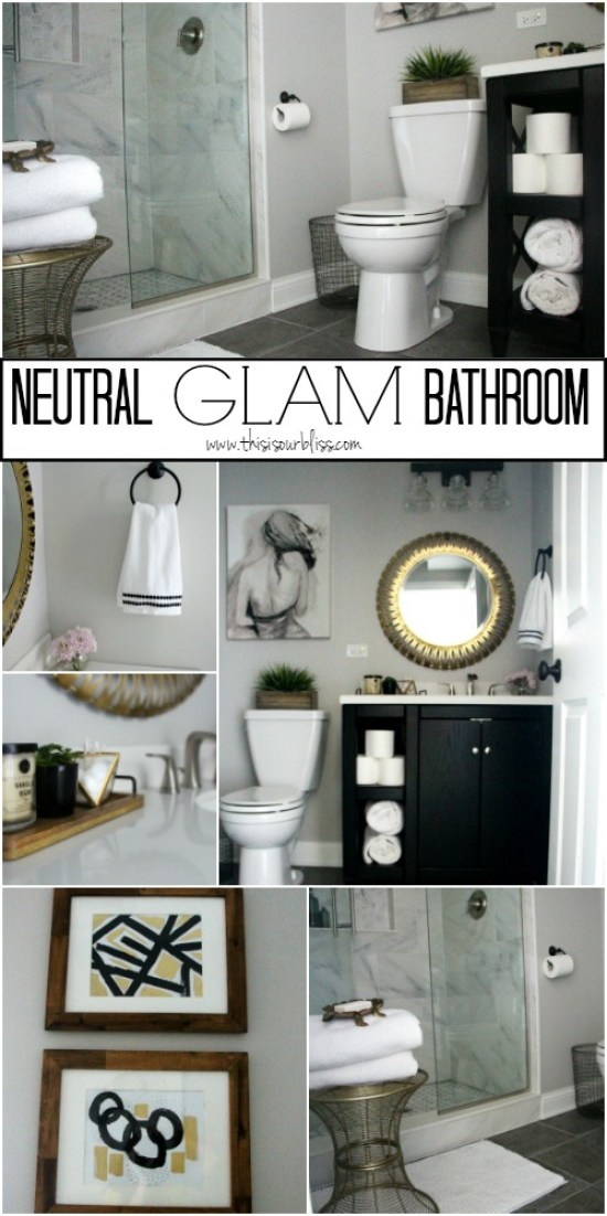 Basement bathroom Reveal | Neutral glam bathroom decor | black white gold and gray || This is our Bliss || www.thisisourbliss.com