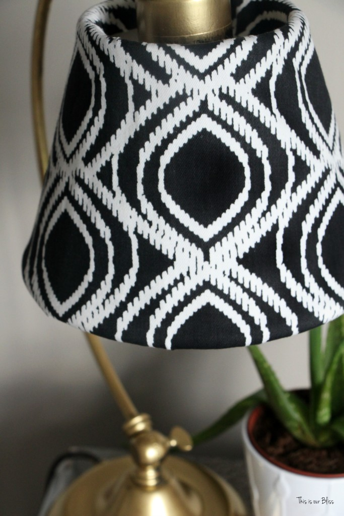 Its so ugly its cool thrift challenge | Lampshade redo | how to recover an old lampshade | black white and gold decor | DIY lampshade 8 | This is our Bliss