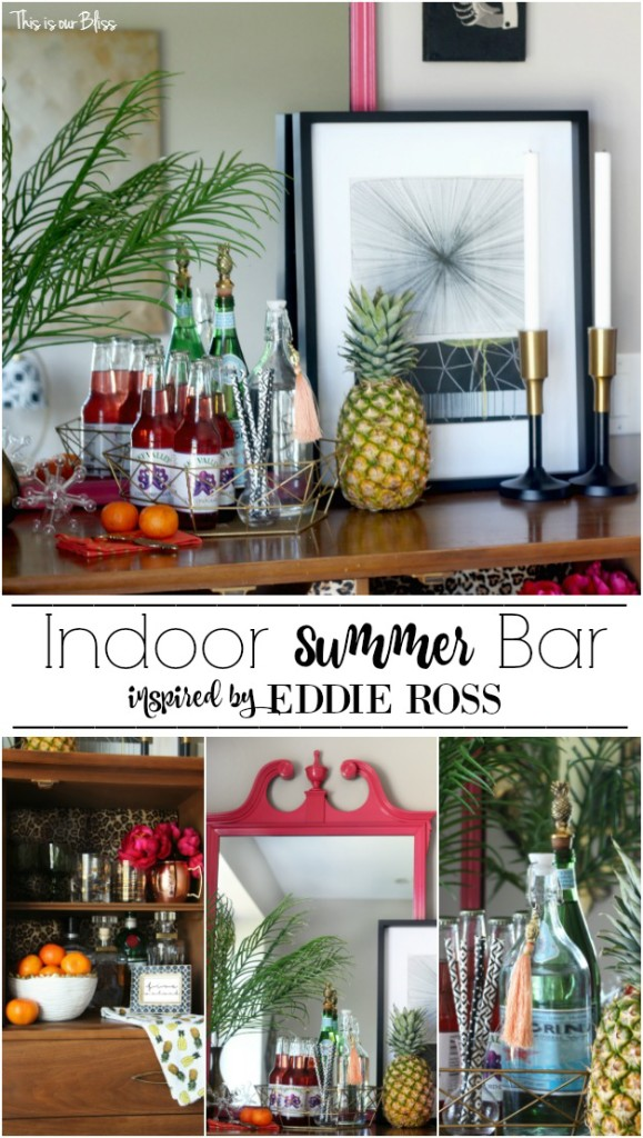 Eddie Ross Inspired Indoor Summer Bar | bold, colorful bar styling | This is our Bliss | www.thisisourbliss.com | @thisisourbliss