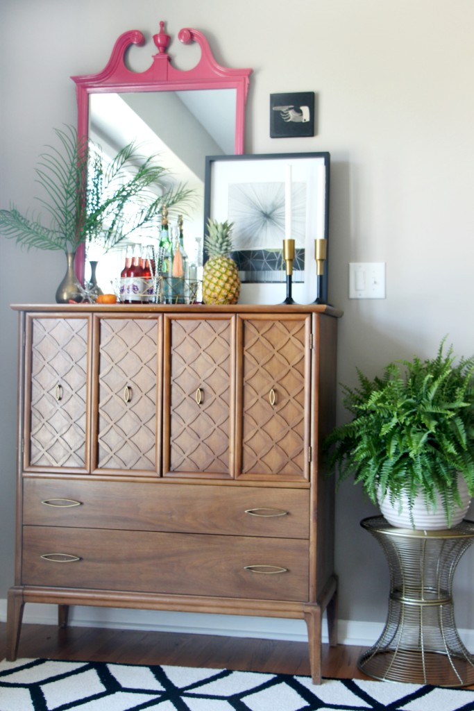 Eddie Ross Style Inspired by DIY | Indoor Summer bar styling | Thrifted dresser turned bar | This is our Bliss | www.thisisourbliss.com