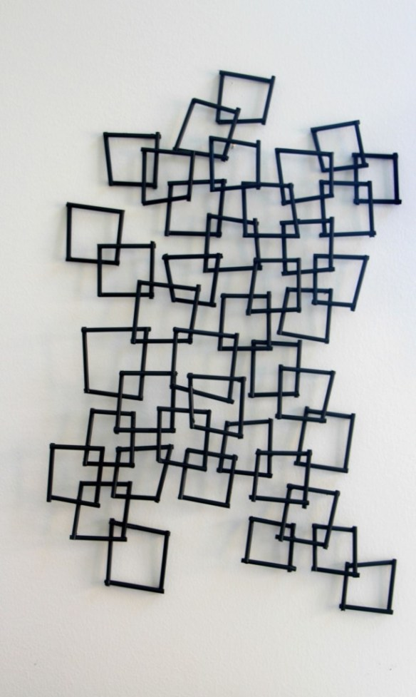 Inspired by DIY | knock off PB wall sculpture | DIY geometric wall decor | This is our Bliss | www.thisisourbliss.com
