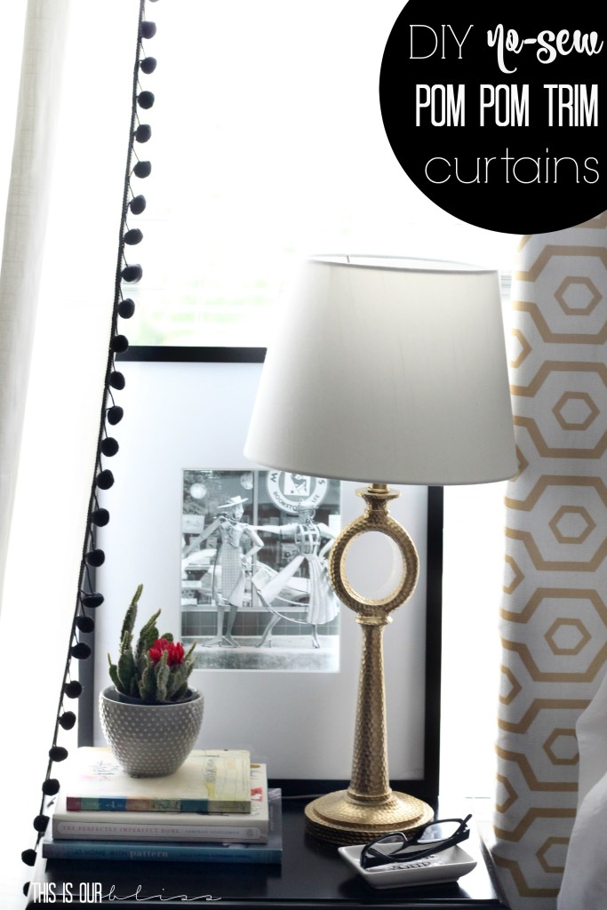 DIY no sew pom pom trim curtains | Create & Share DIY Challenge | This is our Bliss | www.thisisourbliss.com