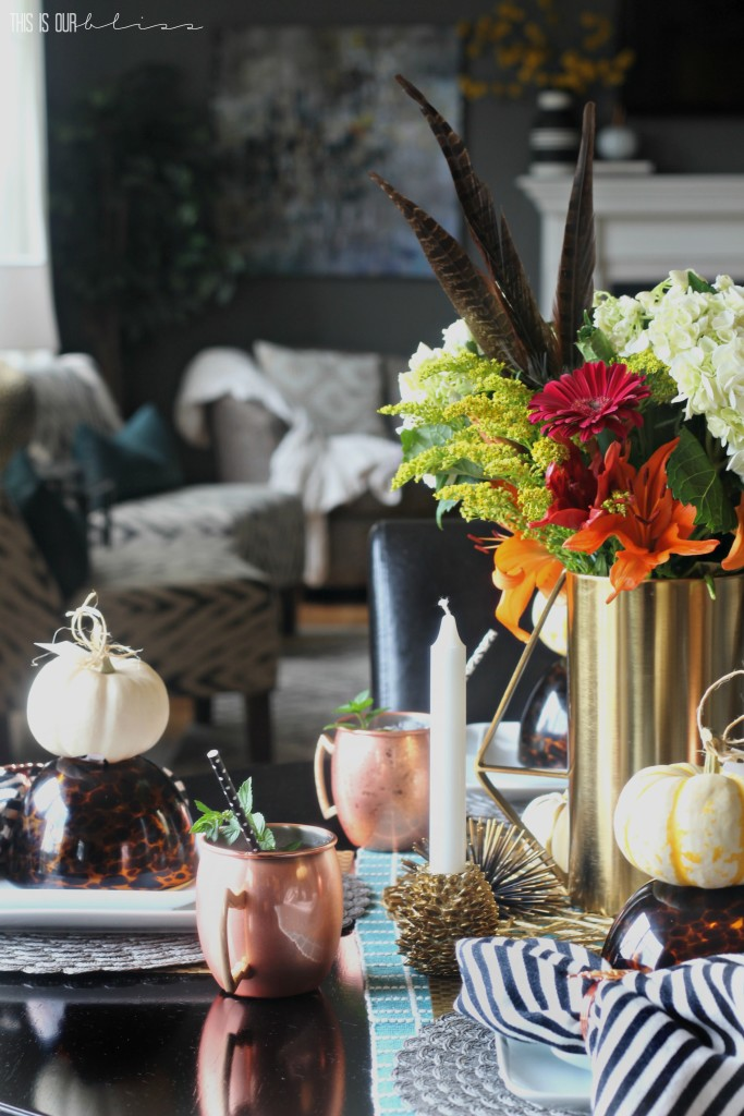 A Casual Fall Tablescape with texture, pattern and pops of warm copper and gold   This is our Bliss   www.thisisourbliss.com