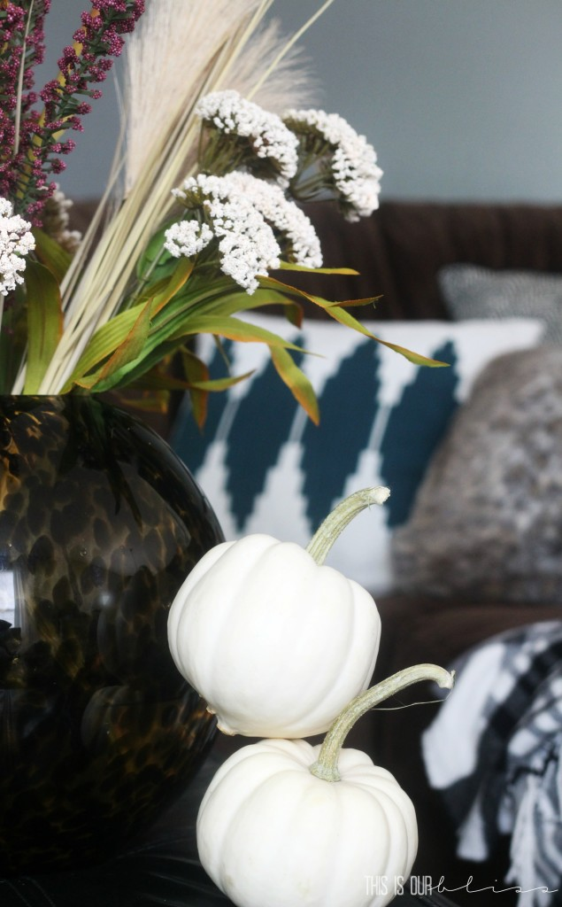 Cozy fall couch with furry fluffy throw pillows and a flannel blanket | www.thisisourbliss.com