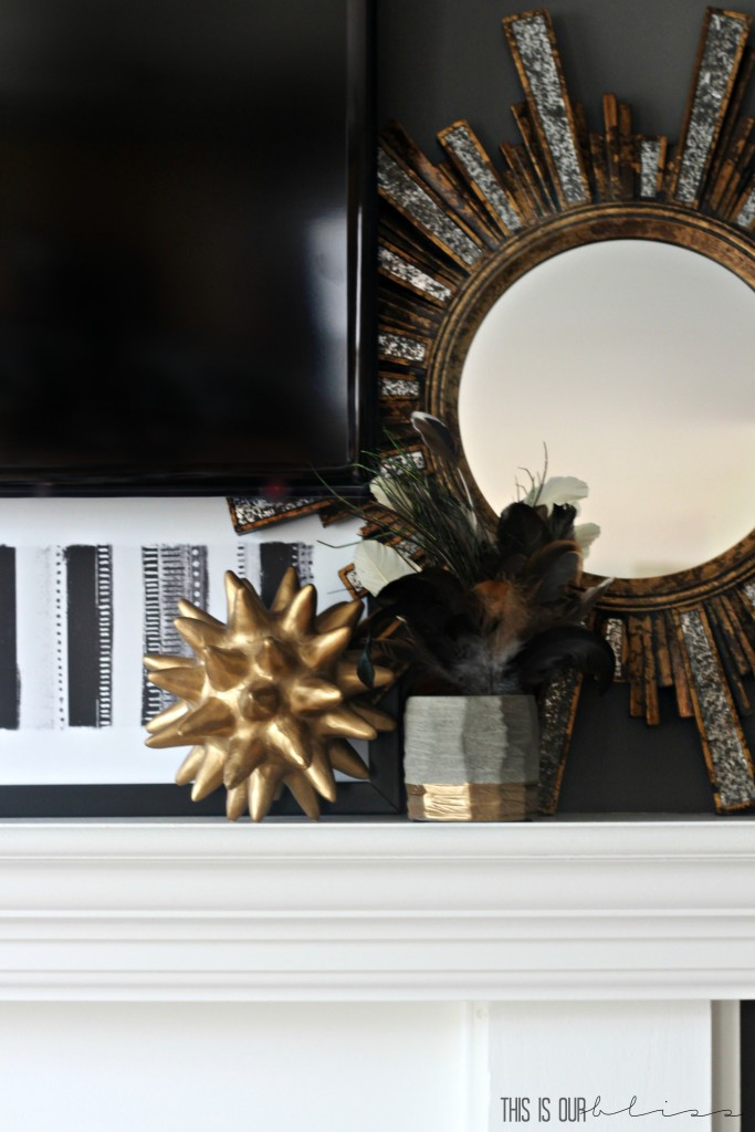 Simple fall stems in a black and white vase for a quick fall mantel! | This is our Bliss | www.thisisourbliss.com