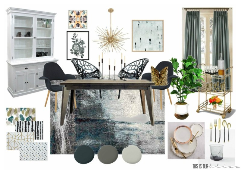 A Bold Graphic Glam Dining Room | Inspiration Board & Makeover plans for the Fall 2016 One Room Challenge | This is our Bliss | www.thisisourbliss.com