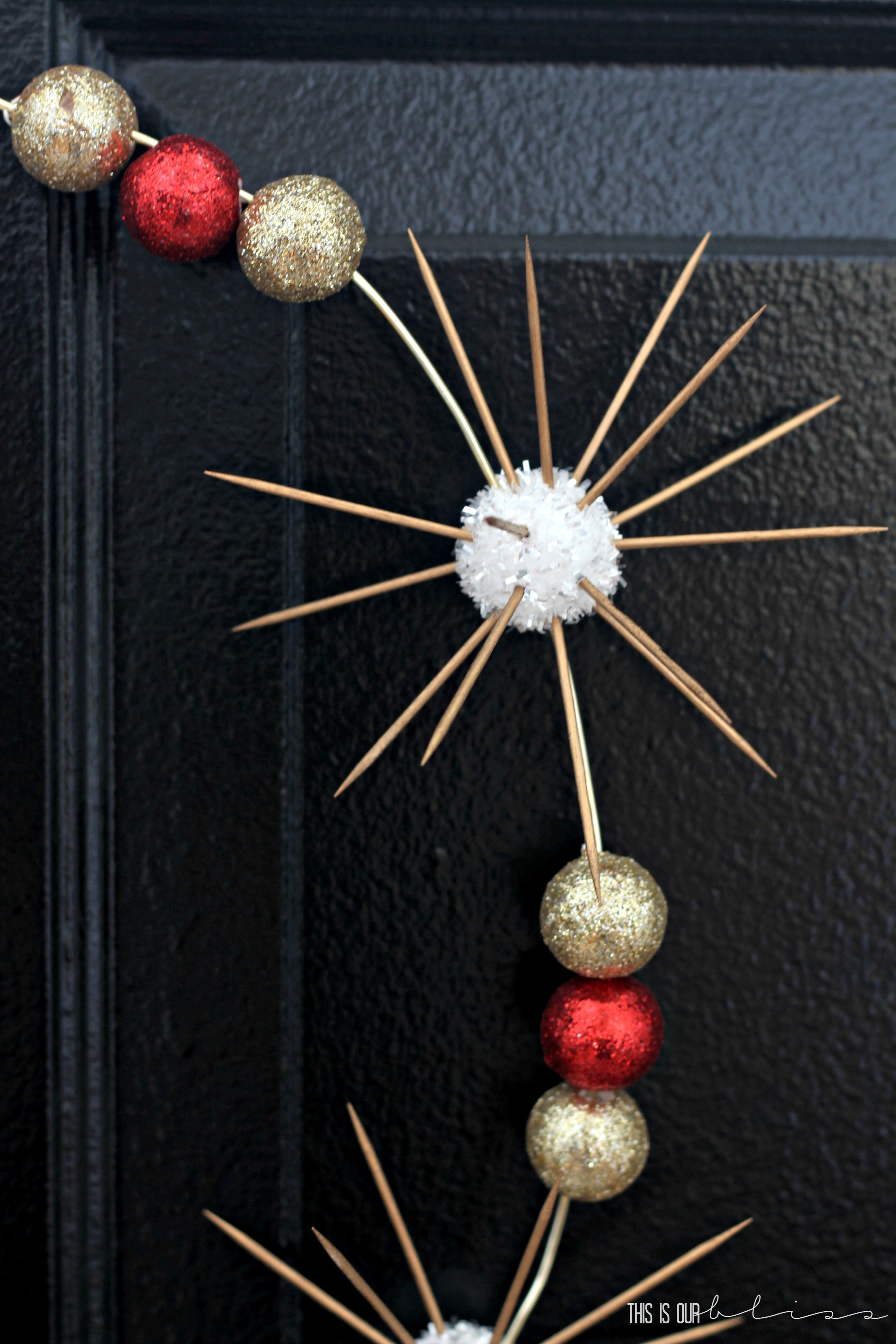 Sputnik christmas ornaments - Then I Started Stringing The Balls On The Wire Once I Determined Grouping And Spacing I Started To Poke The Toothpicks In The White Balls To Form A Mini