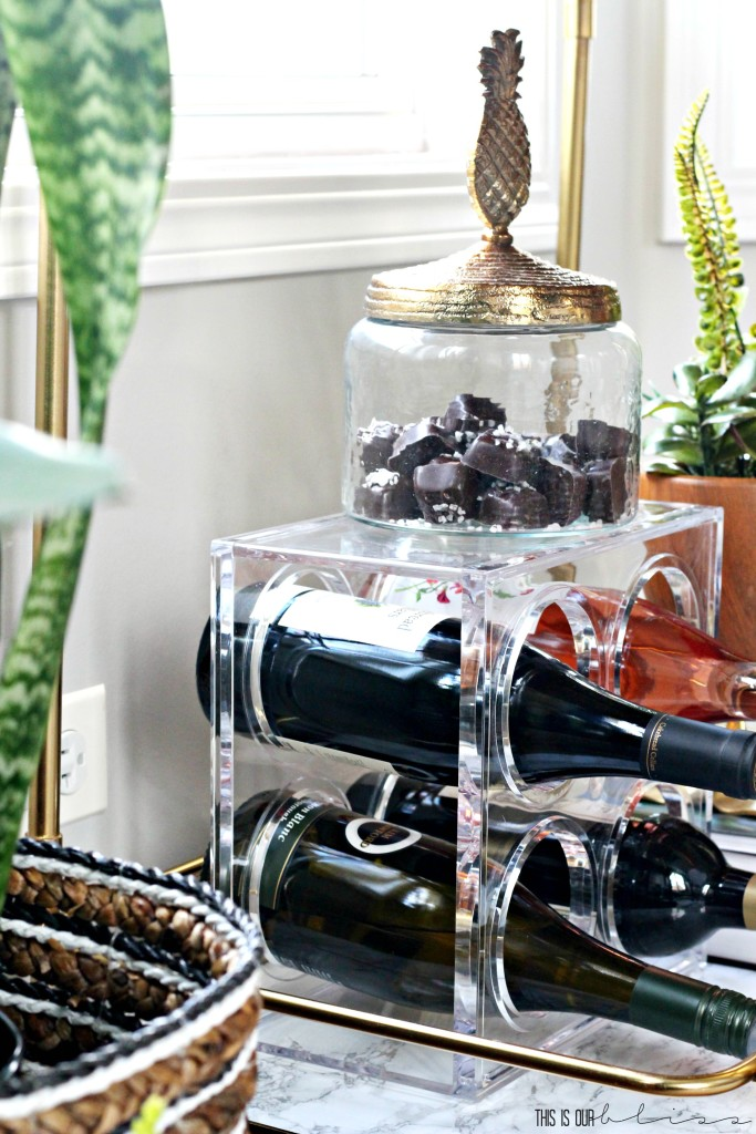 Bold Graphic Glam Dining Room Reveal   One Room Challenge Fall 2016   Bar cart styling & accessories   This is our Bliss   www,thisisourbliss.com