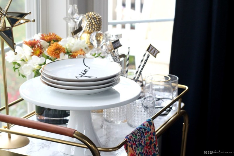 Bold Graphic Glam Dining Room Reveal | One Room Challenge Fall 2016 | Bar cart styling & accessories | This is our Bliss | www,thisisourbliss.com