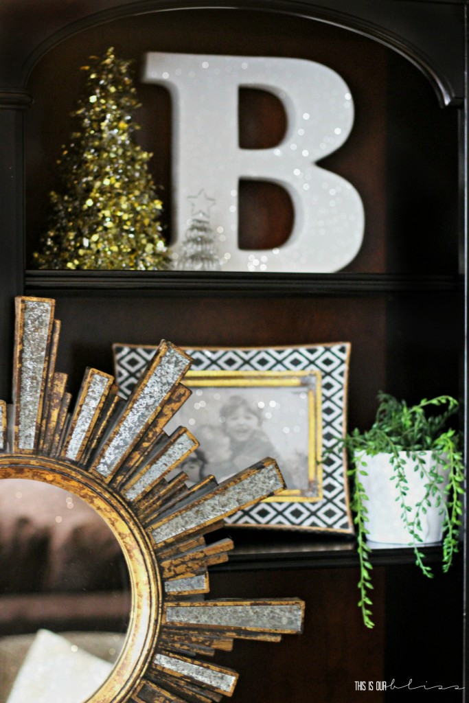 A Merry and Metallic Christmas Home Tour | Red white and metallic Christmas Family room, breakfast table, Tree and Mantel | This is our Bliss Christmas Home Tour 2016