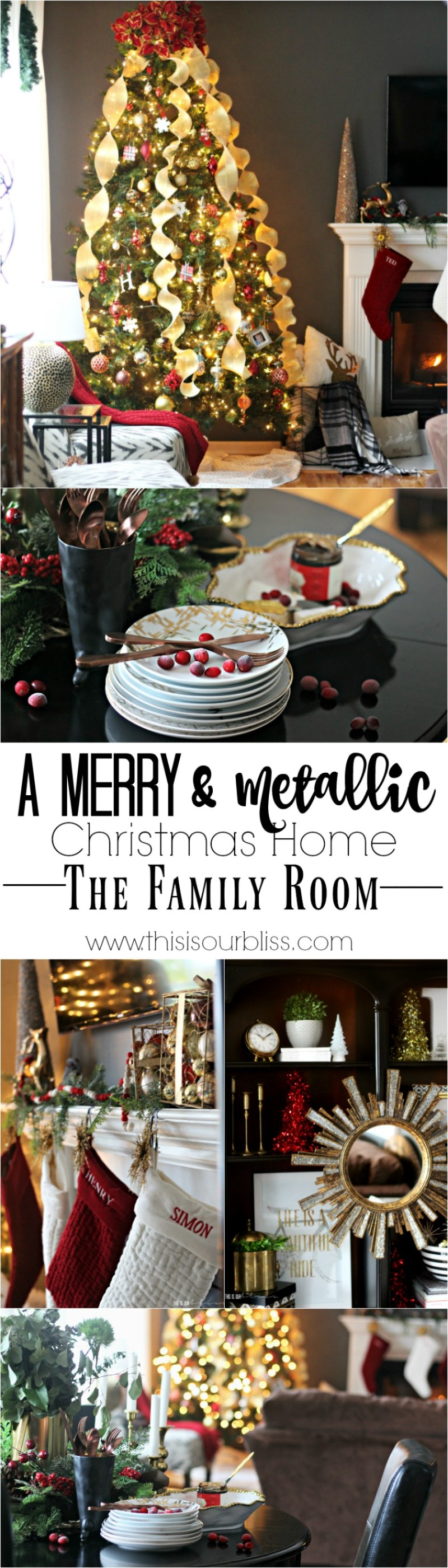 A Merry & Metallic Christmas Home | The Red white and Metallic Christmas Family Room | This is our Bliss Christmas Home Tour 2016