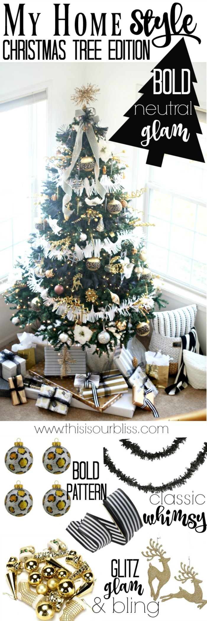 This is our Bliss Merry & Metallic Christmas Living Room with a Bold Neutral Glam Christmas Tree | My Home Style Blog Hop Christmas Tree Edition 2016