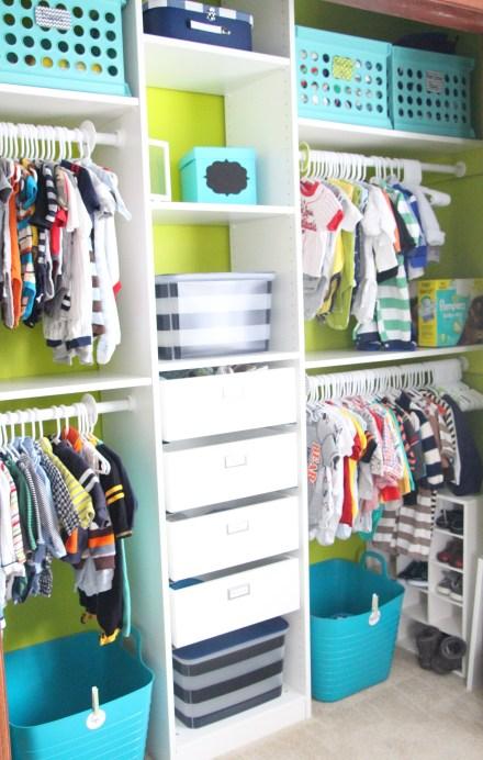 nursery closet design - lime green closet - IKEA pax system - DIY nursery closet