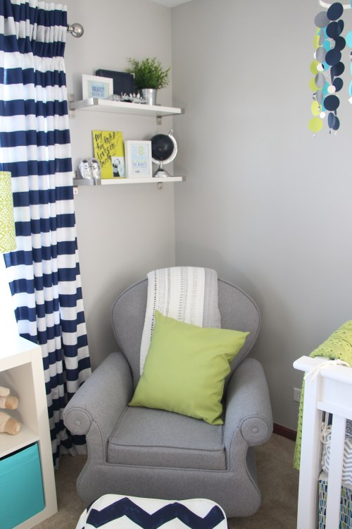 nursery glider | Baby boy nursery | little boy room | navy, lime green and gray nursery | This is our Bliss