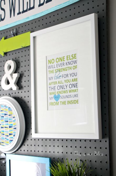 Nursery word art - Etsy printable - navy lime aqua - gallery wall - pegboard gallery wall - This is our Bliss