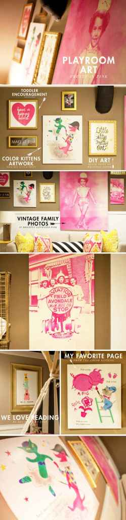 playroom-art-ideas pink & gold