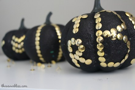 Black & Gold pumpkins w Dollar Store thumbtacks & Monogram pumpkin