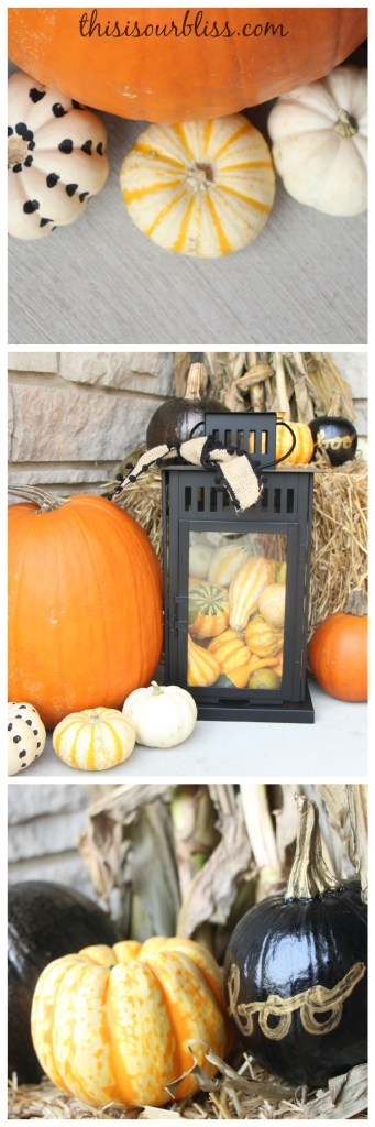 Fall front porch - a touch of gold - painted pumpkins & lanterns & hay & cornstalks - DIY 5