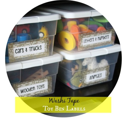 Playroom Organization - Washi tape toy bin labels