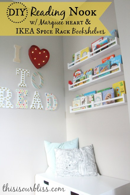 Reading Nook w IKEA spice rack bookshelves