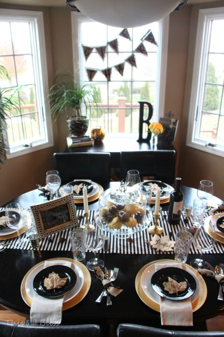 How to create a Modern & Elegant Thanksgiving Table-- black white & gold---natural touches -- This is our Bliss 6