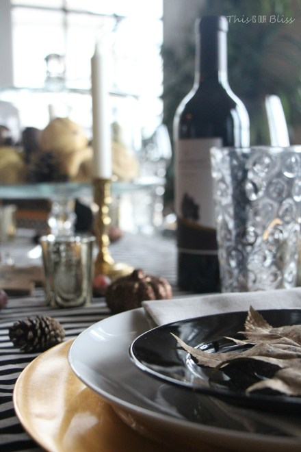 How to create a Modern & Elegant Thanksgiving Table-- black white & gold---natural touches -- This is our Bliss 9