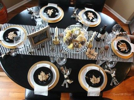 Modern & Elegant Thanksgiving Table-- black white & gold---natural touches -- This is our bliss 1