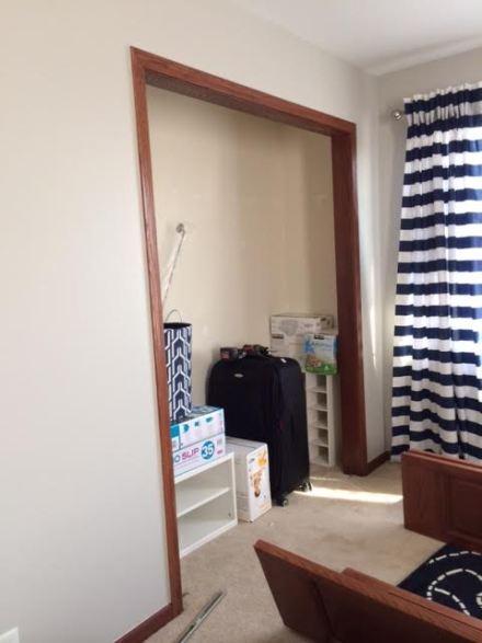 closet before - taking doors off