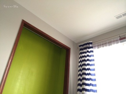 DIY lime green nursery closet - Can't Miss LIme - valspar paint - DIY nursery closet - navy green gray - This is our Bliss