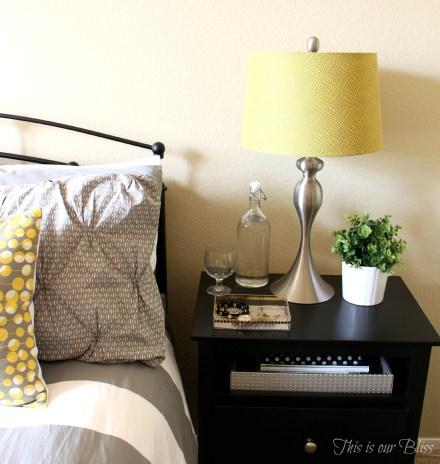 Guestroom Bedside table after - DIY gold detail acrylic tray - jewelry catchall - This is our Bliss