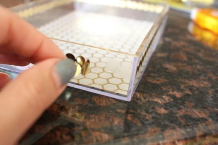 Martha Stewart Decoupage metallic trim application with elmers craft bond - DIY gold detail acrylic tray - This is our Bliss