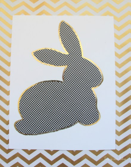 Bunny printable - trace onto paper - cut out to use as a stencil - Chic Easter art - black white and gold - This is our Bliss 6