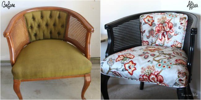 floral and houndstooth cane chair makeover - HGTV fabric - This is our Bliss - before and after