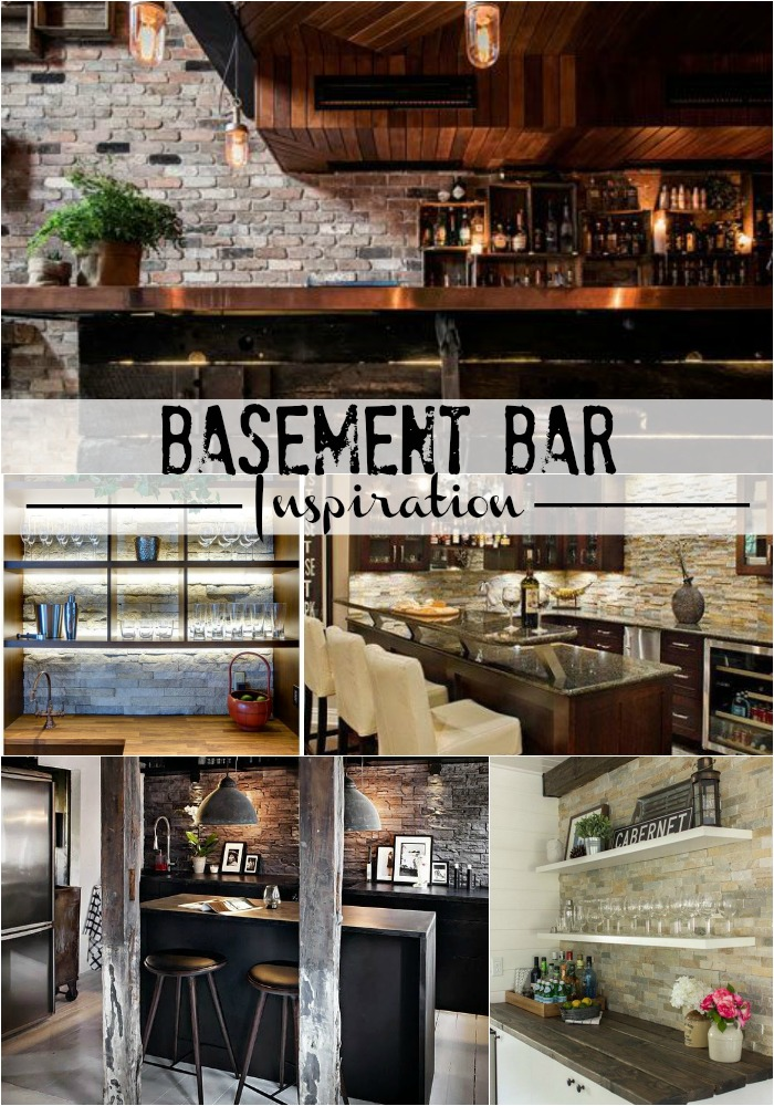 Basement bar inspiration - rustic industrial glam - stacked stone - This is our Bliss