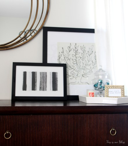 guestroom Revamp - guestroom dresser - leaning art - tray - This is our Bliss