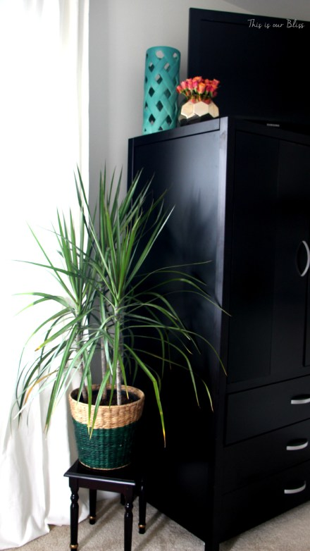 Guestroom revamp - planter - armoire - ombre lamp - This is our Bliss