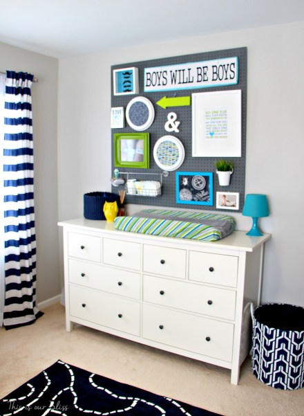 Little boy nursery pegboard gallery wall - DIY nursery decor - navy green & gray - This is our Bliss