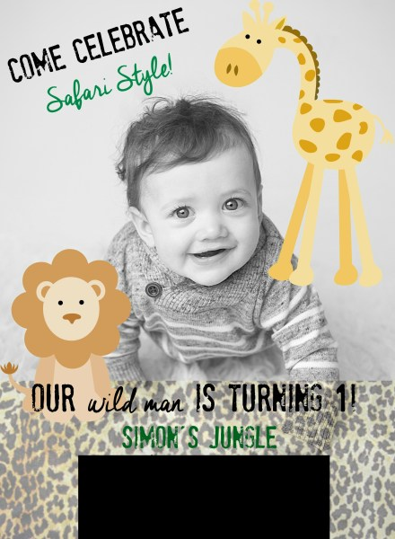 Simon's 1st bday invite -This is our Bliss