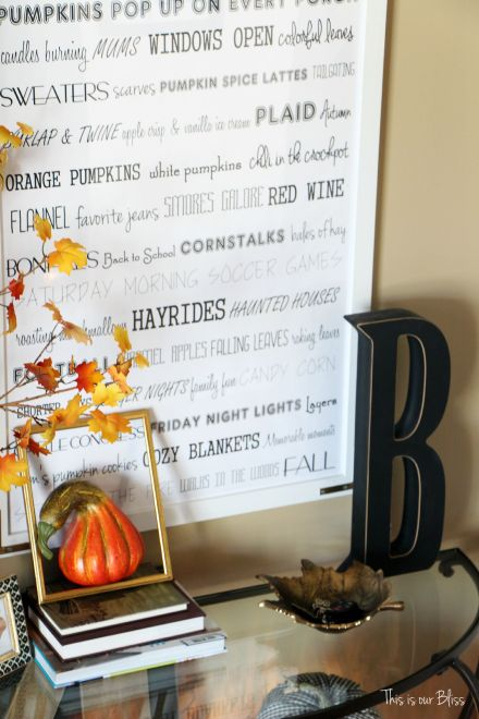 Fall entryway - fall vignette - DIY fall word art - framed word art - fall decor - This is our Bliss